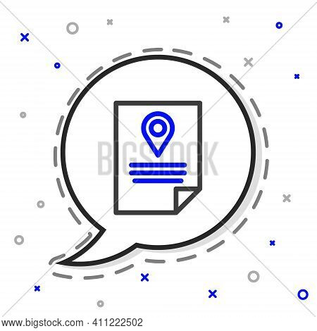 Line Document Tracking Marker System Icon Isolated On White Background. Parcel Tracking. Colorful Ou