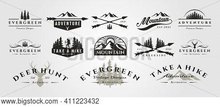 Set Of Vector Adventure Mountain Outdoor Vintage Logo Symbol Illustration Design, Vintage Bundle Log