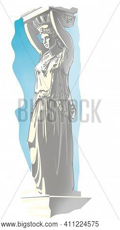 Figure Of A Caryatid. A Woman With Raised Hands Holds A Fragment Of The Building Gable On Her Head.