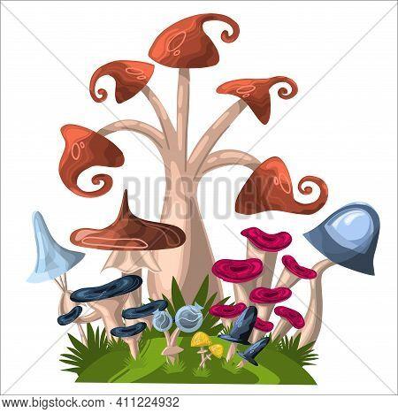 Cartoon Mushroom Background. A Fabulous Illustration Of A Mushroom Forest. Fantasy Illustration With