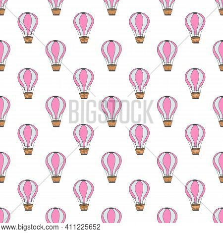 Vector Seamless Pattern With Pink Cartoon Baloon On White Background