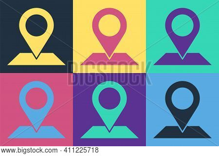 Pop Art Map Pin Icon Isolated On Color Background. Navigation, Pointer, Location, Map, Gps, Directio