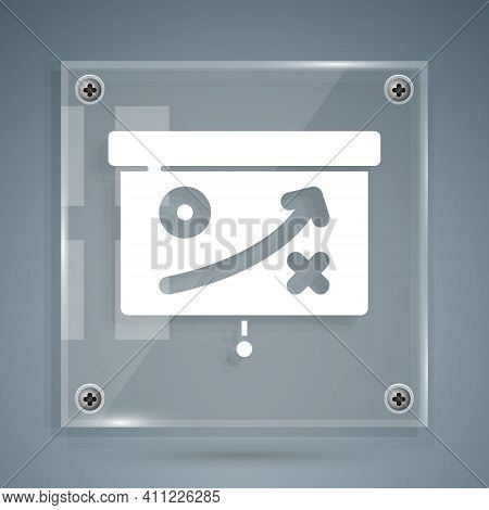 White Planning Strategy Concept Icon Isolated On Grey Background. Cup Formation And Tactic. Square G