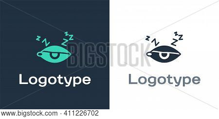 Logotype Insomnia Icon Isolated On White Background. Sleep Disorder With Capillaries And Pupils. Fat
