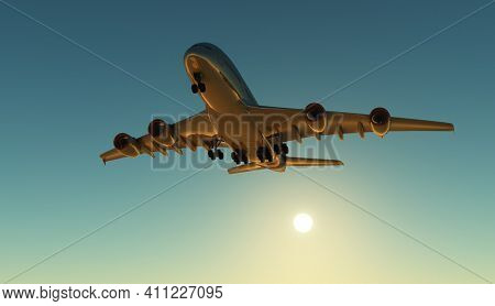 A passenger plane in the sky ,3d render