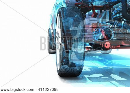 Model cars on a white background.3d render