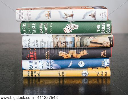 London, England, Uk - January 2 2021: Stack Of Various Detective Or Crime Novels By Agatha Christie,