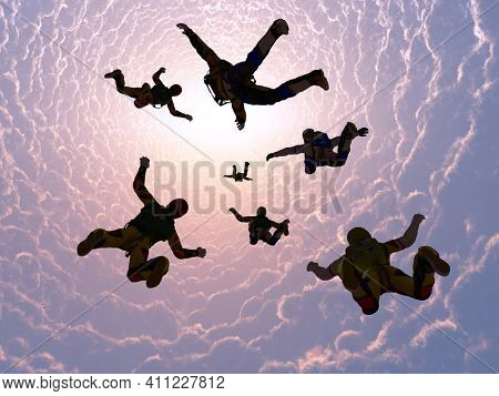 The group of athletes paratroopers.3d render