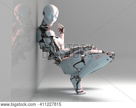 Cyborg woman in a sexy pose.,3d render