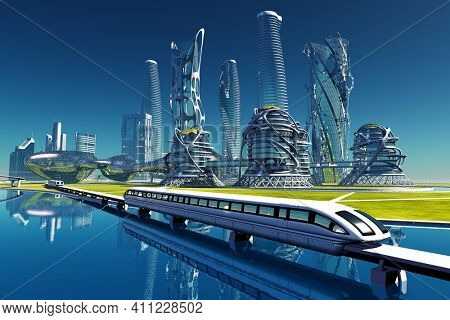 Train on the background of the modern city. .3d render