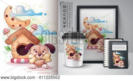 Cute House Dog Poster And Merchandising. Vector Eps 10