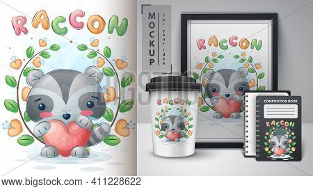 Raccon With Heart Poster And Merchandising. Vector Eps 10