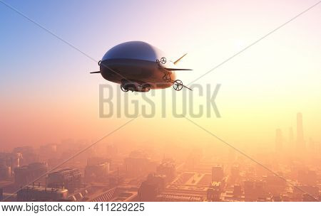 The airship above the clouds. ,3d render