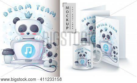 Panda Listening To Music Poster And Merchandising. Vector Eps 10