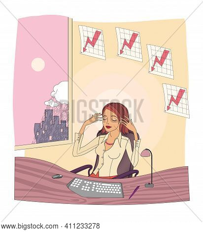 Woman Meditates And Relaxes In Her Workplace. Office Routine. Illustration.