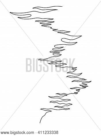 Water Path. Single Continuous Line Drawing. Vector Illustration. Isolated On White Background