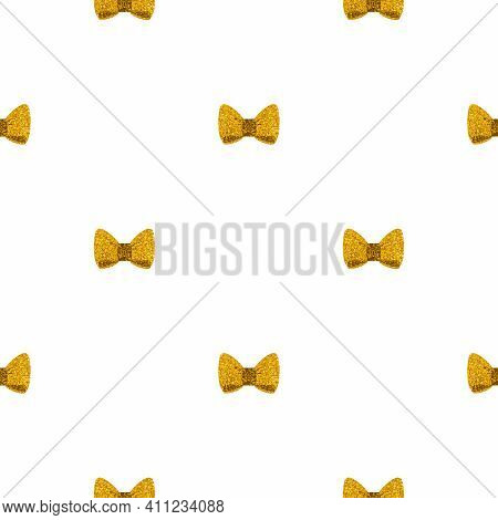 Tile Vector Pattern With Golden Bows On A White Background For Seamless Decoration Wallpaper