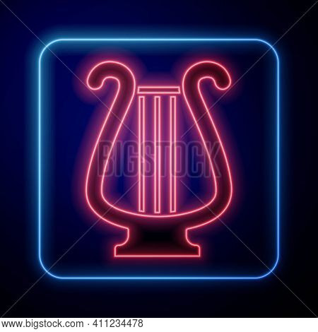 Glowing Neon Ancient Greek Lyre Icon Isolated On Black Background. Classical Music Instrument, Orhes
