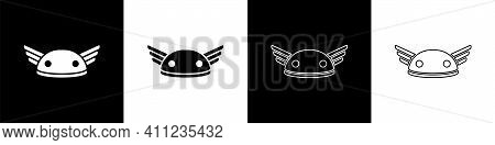 Set Helmet With Wings Icon Isolated On Black And White Background. Greek God Hermes. Vector