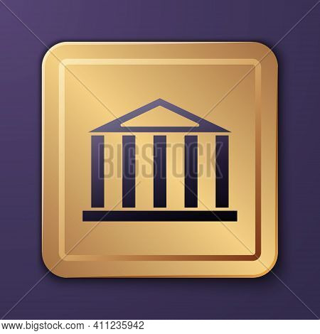 Purple Parthenon From Athens, Acropolis, Greece Icon Isolated On Purple Background. Greek Ancient Na