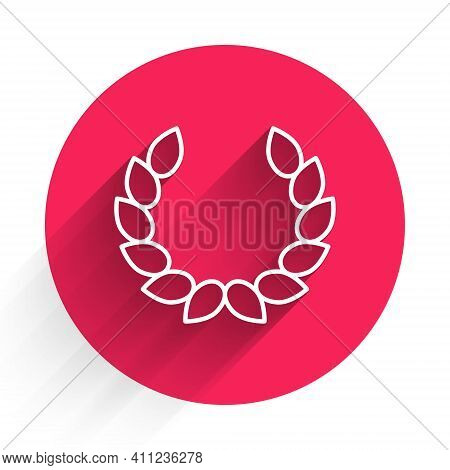 White Laurel Wreath Icon Isolated With Long Shadow. Triumph Symbol. Red Circle Button. Vector
