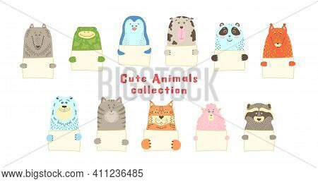 Cute Cartoon Animal Holds Blank Sign With Copy Space. Set Greeting Card Banner Invitation Flyer Broc