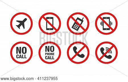 Collection Of Vector Illustrations Of The Prohibition Of Using Mobile Phones. Signs Prohibit Turning