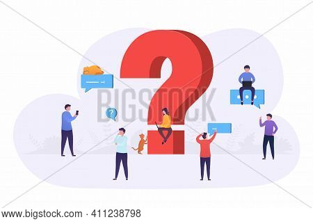 Business People Ask Questions Using Laptop, Phone, Look For Answers Around Large Question Mark. Conc