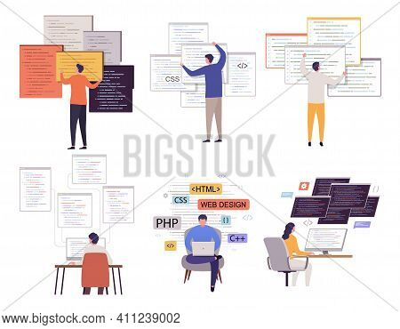 Programmer Working On Web Development With Many Open Programm Windows. Set Of Programmers Men And Wo