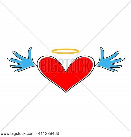 Heart Icon . Heart With Wings And Halo Isolated On White Background. Heart Symbol Of Valentines Day.