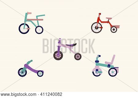 A Collection Of Colored Children's Bicycles. Cute Colored Two-wheelers And Tricycles. Children's Vec