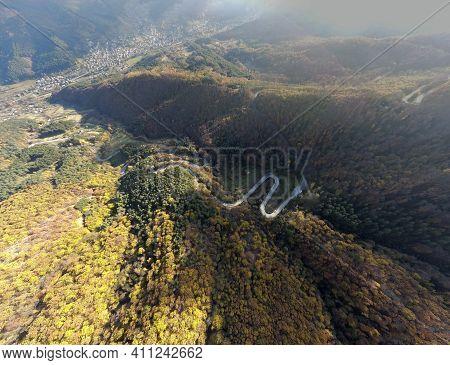 Amazing Aerial Autumn Panorama Of Balkan Mountains And Vratsata Pass, Bulgaria