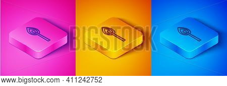 Isometric Line Burning Match With Fire Icon Isolated On Pink And Orange, Blue Background. Match With