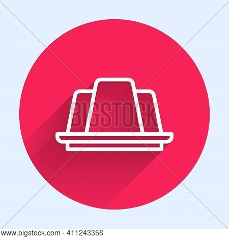 White Line Jelly Cake Icon Isolated With Long Shadow. Jelly Pudding. Red Circle Button. Vector