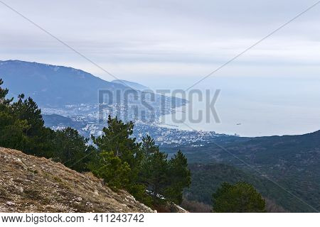 View Of The Coastal City Of Yalta From Mount Ai-petri In Crimea In Winter