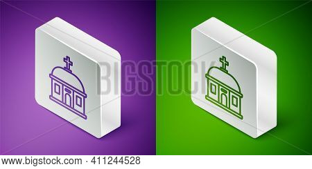 Isometric Line Santorini Building Icon Isolated On Purple And Green Background. Traditional Greek Wh