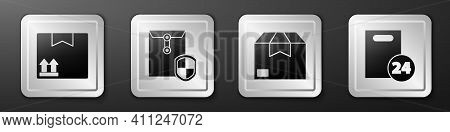 Set Cardboard Box With Traffic Symbol, Envelope With Shield, Carton Cardboard Box And Delivery With