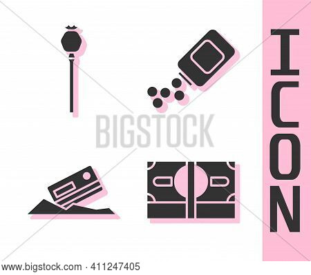 Set Stacks Paper Money Cash, Opium Poppy, Cocaine And Credit Card And Medicine Bottle And Pills Icon