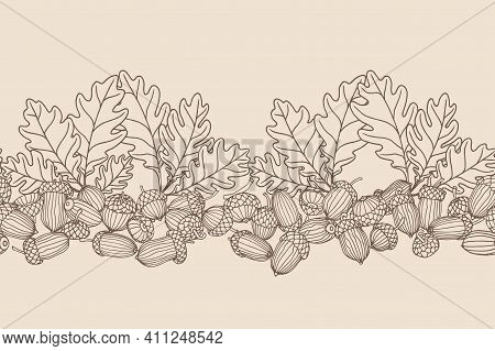 Horizontal Abstract Seamless Pattern Of Oak Acorns, For Ornament And Backdrops Designs, Border, Fram