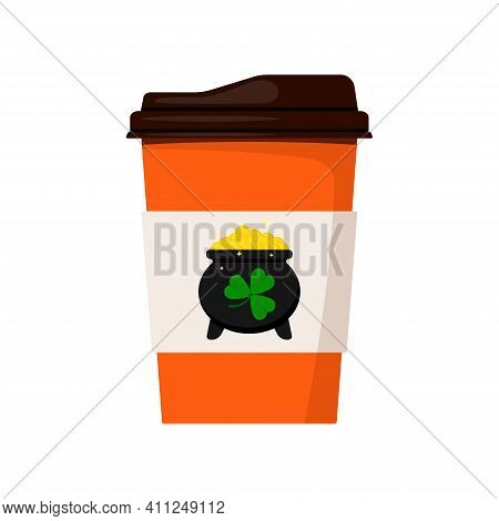 St Patrick Day Coffee Or Tea Cup To Go. Hot Drink Mug With Cauldron With Gold Coins And Good Luck Ir
