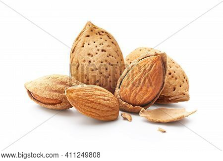 Group Of Almonds Nut With Shell Isolated On White Background