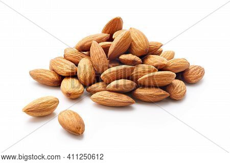 Heap Of Almonds Isolated On White Background - Clipping Path Included