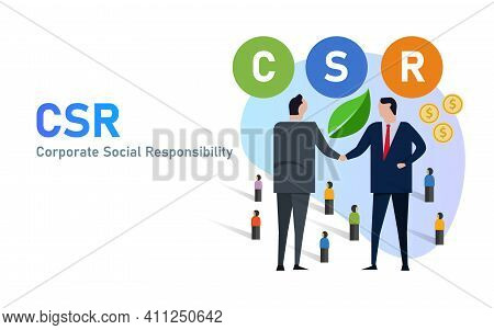 Csr Corporate Social Responsibility Businessman Cooperation Company Initiative For Public And Enviro