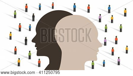 Multicultural Society Living Coexist With Different Racial Color Cultural Symbol Of Crowd Integratio