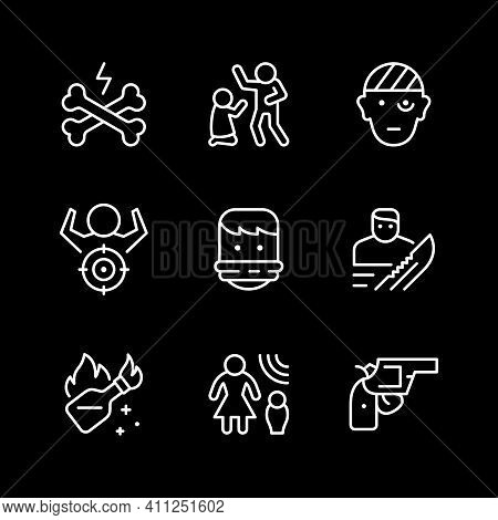 Set Line Icons Of Violence Isolated On Black. Mass Riots, Molotov Cocktail, Hostage, Gun, Robbery, D