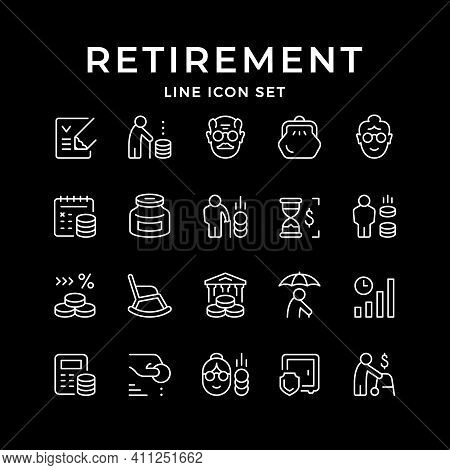 Set Line Icons Of Retirement Or Pension Isolated On Black. Moneybox, Calculating, Old Man And Woman,