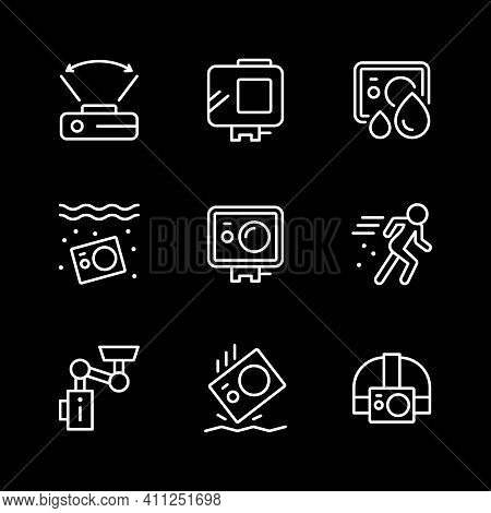 Set Line Icons Of Action Camera Isolated On Black. Movement, Extreme Video, Compact Cam, Waterproof