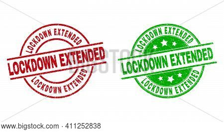 Round Lockdown Extended Stamp Badges. Flat Vector Distress Stamp Watermarks With Lockdown Extended T