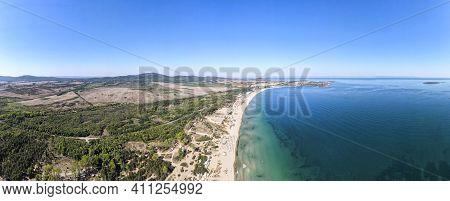 Aerial Panorama Of Gradina (garden) Beach Near Town Of Sozopol, Burgas Region, Bulgaria