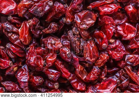 Dried Barberry Berries. A Mixture Of Different Spices Close Up. Textures Of Colorful Spices And Cond